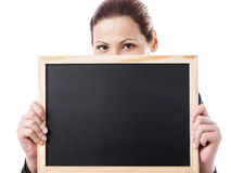 Business woman holding a chalk board Royalty Free Stock Photos