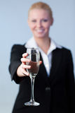 Business woman Holding a Champagne Glass Stock Photo