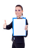 Business woman holding a clipboard Royalty Free Stock Photos