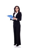 Business woman holding a clipboard Stock Photos
