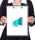 Business woman holding a clipboard with business graph Royalty Free Stock Images