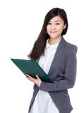 Business woman holding clipboard Stock Images