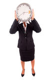 Business woman holding a clock Stock Images