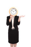 Business woman holding clock Stock Images