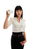 Business woman holding club or business card royalty free stock photography