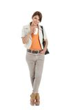 Business woman holding a coffee cup i Royalty Free Stock Image