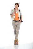 Business woman holding a coffee cup i Royalty Free Stock Photography