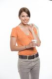 Business woman holding a coffee cup i Stock Images