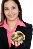 Business woman holding a compass Royalty Free Stock Image