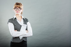 Business woman holding contract in hand Royalty Free Stock Photo