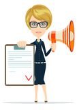 Business woman holding contract and megaphone. Royalty Free Stock Image