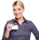 Business woman holding credit card Royalty Free Stock Images