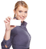 Business woman holding credit card Royalty Free Stock Image