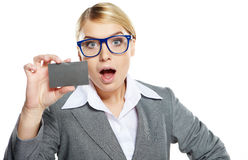 Business woman holding credit card Stock Photo