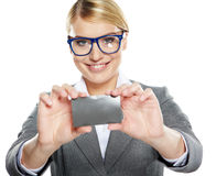 Business woman holding credit card Stock Photography