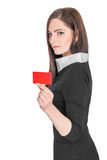 Business woman holding credit card Royalty Free Stock Photos