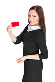 Business woman holding credit card Stock Photos