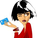 Credit card and girl. Business woman holding credit card in hand. Vector Illustration Stock Photo