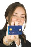 Business woman holding credit card up Royalty Free Stock Photography