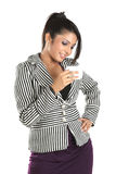 Business woman holding cup of coffee royalty free stock images