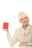 Business woman holding cup of coffee Stock Photography