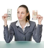 Business woman holding a currency Royalty Free Stock Photography