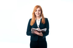 Business woman holding a diary Stock Images