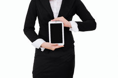 Business woman holding Digital Tablet isolated on white background. A business woman holding Digital Tablet isolated on white background stock image