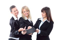 Business woman holding document with team Stock Photography