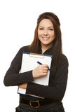 Business woman holding documents in black. Isolated on white background royalty free stock photography