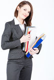 Business woman holding documents, searching file Royalty Free Stock Photo