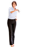 Business woman holding a dollar bill Stock Photography