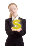 Business woman holding a dollar sign. On a white background stock photos