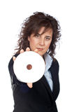 Business woman holding a dvd disc Royalty Free Stock Image