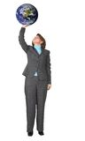 Business woman holding earth Stock Images