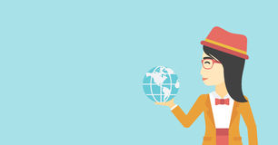Business woman holding Earth globe. An asian  young business woman holding Earth globe in hand. Concept of global business. Vector flat design illustration Royalty Free Stock Photography