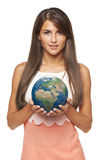 Business woman holding earth globe Royalty Free Stock Photo