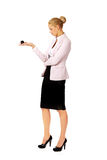 Business woman holding eight billiard ball Royalty Free Stock Photography