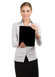 Business woman holding electronic tablet Royalty Free Stock Photo