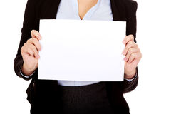 Business woman holding empty banner Stock Photos