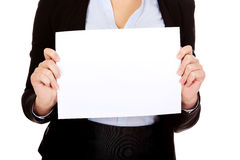 Business woman holding empty banner Royalty Free Stock Photography