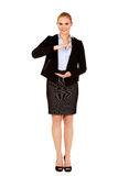 Business woman holding empty copy space between her hands Stock Photos