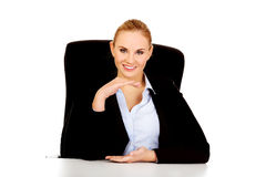 Business woman holding empty copy space between her hands Stock Photo