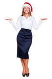 Business woman holding empty copyspace Stock Images