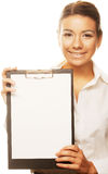 Business woman holding empty white board Stock Photos