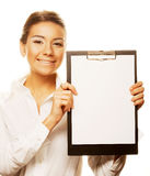 Business woman holding empty white board Royalty Free Stock Photos