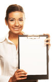 Business woman holding empty white board Stock Images