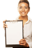 Business woman holding empty white board Stock Photo