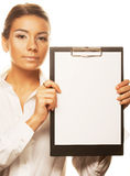 Business woman holding empty white board Stock Photography