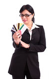 Business woman holding a few business cards Royalty Free Stock Photography